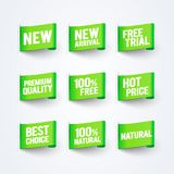 Llegada del ejemplo del vector nueva, el 100% libre, calidad natural, superior, el mejor sistema de la bandera de la etiqueta de  Fotos de archivo libres de regalías