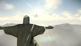 Llegada plana en Rio de Janeiro y Cristo el vídeo del redentor ilustración del vector