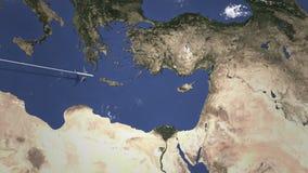 Llegada plana a Nicosia, Chipre del oeste, animación de la introducción 3D ilustración del vector