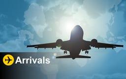 Llegadas del avión Foto de archivo libre de regalías