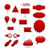 Llegadas grandes, rojas para las compras en línea, con muchos Fotografía de archivo libre de regalías