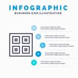 Llegado, cajas, entrega, logístico, línea de navegación icono con el fondo del infographics de la presentación de 5 pasos stock de ilustración