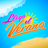 Llego el Verano - Summer has arrived spanish text. Vector lettering - eps available Stock Photography