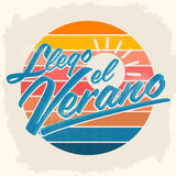 Llego el Verano - Summer has arrived spanish text. Vector vintage lettering - eps available Stock Photos