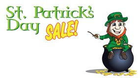 LLeperchaun on pot of gold saint patricks day sale banner royalty free stock images