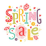 Llettering Spring sale with decorative floral. Vector lettering Spring sale with decorative floral elements isolated on white background, hand drawn letters Stock Photos