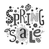 Llettering Spring sale with decorative floral. Vector lettering Spring sale with decorative floral elements isolated on white background, hand drawn letters Stock Image
