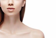 Lleva a hombros la barbilla de los labios del cuello Retrato de la belleza de la mujer aislado en cierre del blanco para arriba imagen de archivo