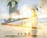 llevado practicar surf el fondo foto de archivo