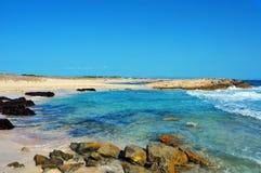 Llevant海滩在Formentera,巴利阿里群岛,西班牙 库存照片