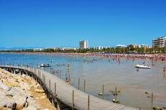 Llevant Beach, in Salou, Spain. SALOU, SPAIN - AUGUST 10: Vacationers in Llevant Beach on August 10, 2012 in Salou, Spain. Salou is a major destination for sun Stock Photo