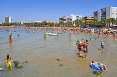 Llevant strand, i Salou, Spanien Royaltyfri Foto