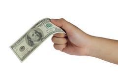 Llevar a cabo el billete de dólar 100 Fotografía de archivo libre de regalías