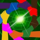 Llevar a cabo las manos indica la globalización junta y la tierra ilustración del vector