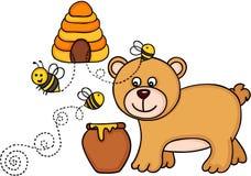 Lleve con el pote de la miel y las abejas vuelan de una colmena ilustración del vector