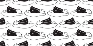 Lleve el garabato aislado historieta inconsútil del papel pintado del fondo de los cabos del vuelo de la panda del oso polar del  ilustración del vector