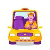 Lleve en taxi el concepto del servicio con el car?cter masculino sonriente que conduce el coche en casquillo y uniforme Transport libre illustration