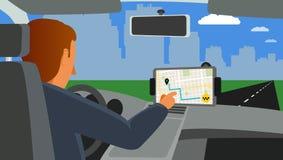 Lleve en taxi el uso para diversos sistemas operativos en la pantalla de la tableta Foto de archivo libre de regalías