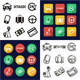 Lleve en taxi todos en los iconos uno negros y el diseño plano del color blanco fijado a pulso ilustración del vector