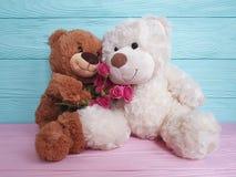 Lleve la decoración de madera del fondo de la suavidad del presente de la flor del juguete imagenes de archivo