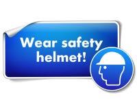 Lleve la etiqueta engomada de la protección del casco de seguridad con la muestra obligatoria aislada en el fondo blanco stock de ilustración