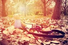 Lleve la muñeca y la cámara en la tierra en el parque fotos de archivo