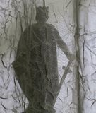 Llewellyn the Great, Welsh king, silhouette, seen through muslin drapes. The silhouetted figure of Llewellyn the Great, Welsh king, seen behind the patterns and Stock Photos