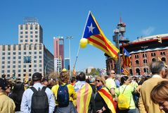 Llibertat Presos政治行军在巴塞罗那 库存图片