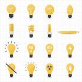 Llight-Birnen-Ikonen Stockbilder