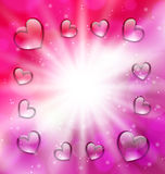 Llighten background with glassy hearts for Valentine Day, copy, Stock Photography