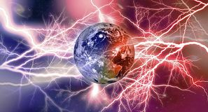 Free Llightning Strikes On Earth, Fire And Ice, North And South Magnetic Poles  Storms Stock Photos - 159762743