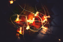 Llights garland with maple leaves. Autumn, fall ceason concept Royalty Free Stock Photography