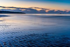 LLigwy Beach near Moelfre, Anglesey North Wales. At sunset stock image