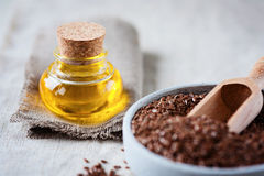 Llinseed oil and flax seed Stock Photo