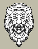 Llion head door knocker. Line art style. Royalty Free Stock Image