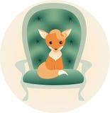 Llitle lisa obsiadanie na krześle Ilustracji