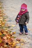 Llittle baby in an autumn park Royalty Free Stock Photography