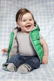 Llittle boy with long hair and big smile. Royalty Free Stock Photo
