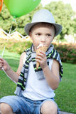 Llittle boy whith ice-cream in a park Royalty Free Stock Photography