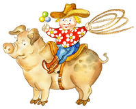 Llittle cowboy riding pig. A happy little cartoon boy with a lasso and rattle riding pig Royalty Free Stock Photos
