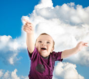 Llittle cute baby wants to fly Royalty Free Stock Photo