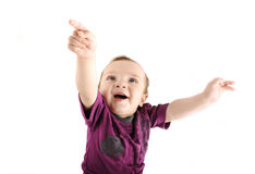 Llittle cute baby wants to fly Royalty Free Stock Images