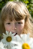 Llittle girl with chamomile Royalty Free Stock Image