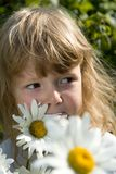 Llittle girl with chamomile Stock Photo