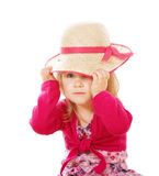 Llittle girl with lady's hat Royalty Free Stock Photos
