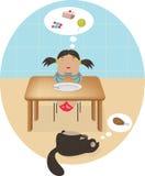 Llittle-Karikaturmädchen, das vom Kuchen und Bonbons und Katze träumt Stockfoto