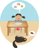 Llittle tecknad filmflicka som drömmer av kakan och sötsaker och katt Arkivfoto