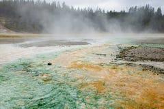 Lliving温度计 Norris喷泉水池 黄石国民 库存照片