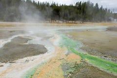 Lliving温度计 Norris喷泉水池 黄石国民 库存图片