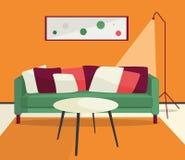 Lliving izbowa chłodno ostra wektorowa wewnętrzna ilustracja ilustracji